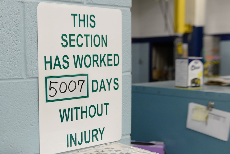 The sign displaying over 5,000 days of safety stands on display in the hydraulic shop February 27, 2018, on Altus Air Force Base, Okla. The hydraulic shop recently reached 5,000 days with no injuries or lost time due to safety incidents. (U.S. Air Force photo by Airman Jeremy Wentworth/released)