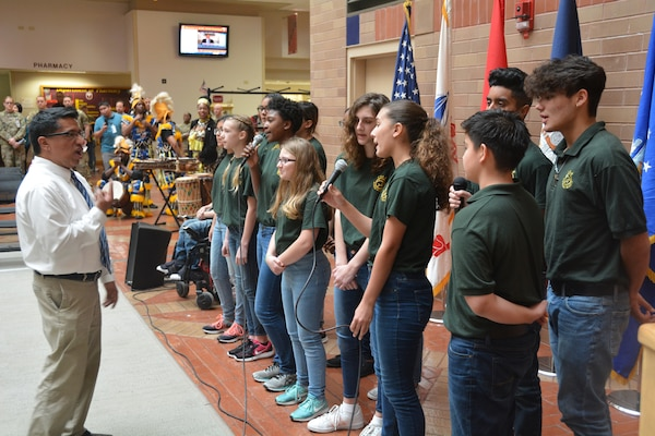 Robert G. Cole Middle School Choir entertains the audience at the Black History Month observance at Brooke Army Medical Center at Joint Base San Antonio-Fort Sam Houston Feb. 22.
