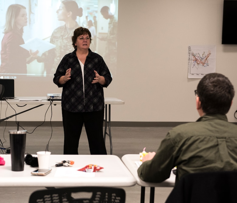 Marcia Richard, Director of Psychological Health at the 141st Air Refueling Wing, Fairchild Air Force Base, Wash. addresses a class of peer-to-peer support team members in training January 26, 2018 at Camp Murray, Wash. The Washington Air and Army National guard provides training three times a year for guardsmen who would like to be apart of the peer support team. (U.S. Air National Guard photo by Staff Sgt. Rose M. Lust)