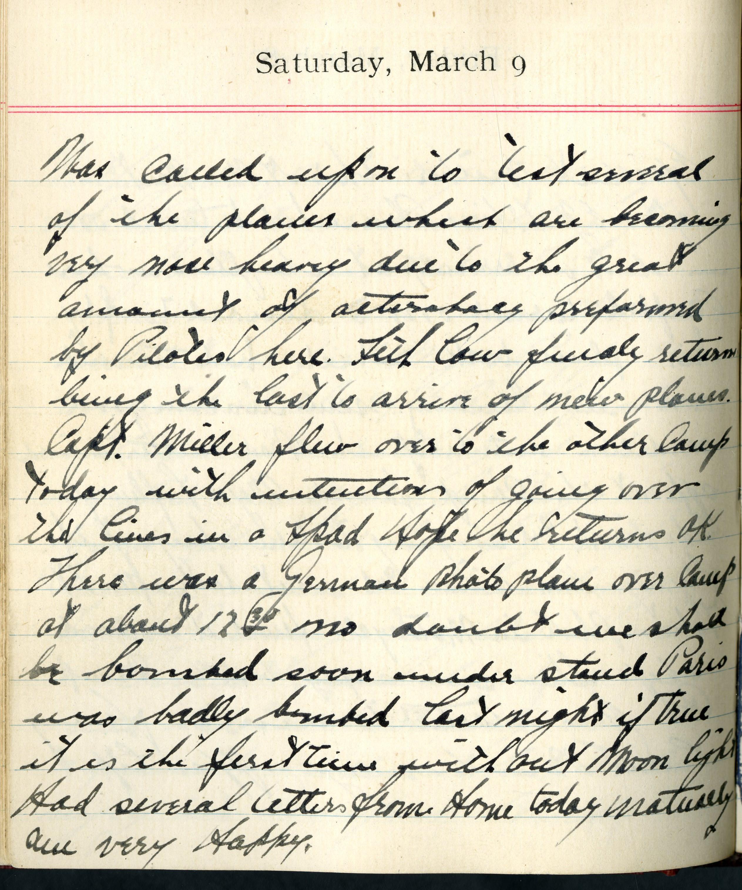 Eddie V  Rickenbacker WWI Diary