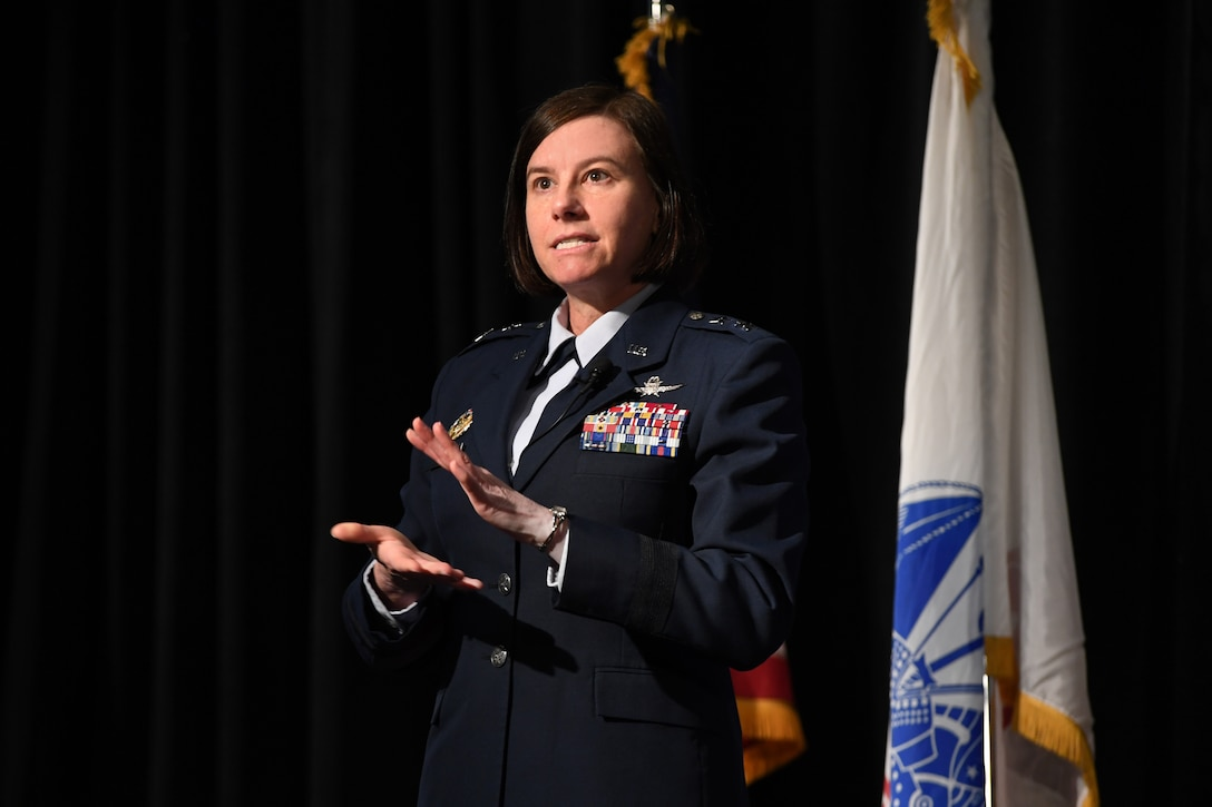 "Maj. Gen. Sarah Zabel, director of the Air Force's Information Technology Acquisition Process Development office in the Pentagon, discusses a presentation titled ""Air Force Journey to Agile Software Acquisition"" Feb. 27 at the New Horizons conference, hosted by the Lexington-Concord Chapter of the Armed Forces Communications and Electronics Association in Newton, Mass."