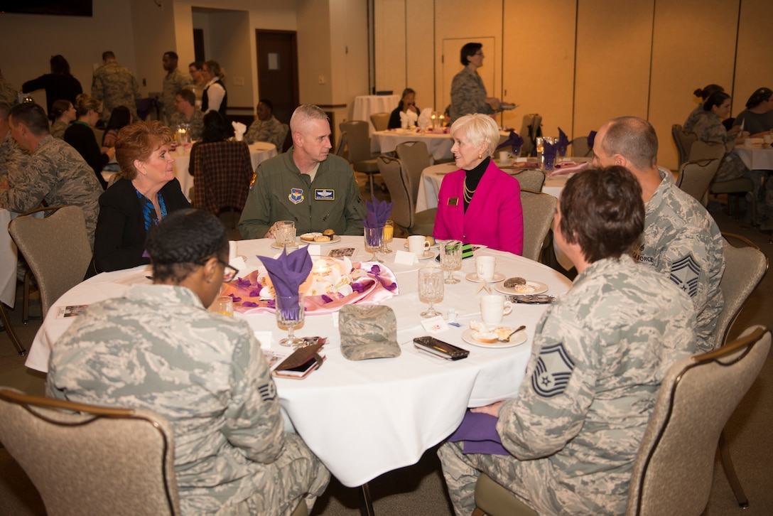 Col. Michael Richardson, 56th Fighter Wing vice commander, talks with Georgia Lord, mayor of Goodyear, and other members of the 56th Fighter Wing during the Women's History Month breakfast at Luke Air Force Base, Ariz., March 1, 2018. The breakfast, at which Lord was a guest speaker, commemorated women's accomplishments throughout the course of American history. (U.S. Air Force photo/Senior Airman Ridge Shan)
