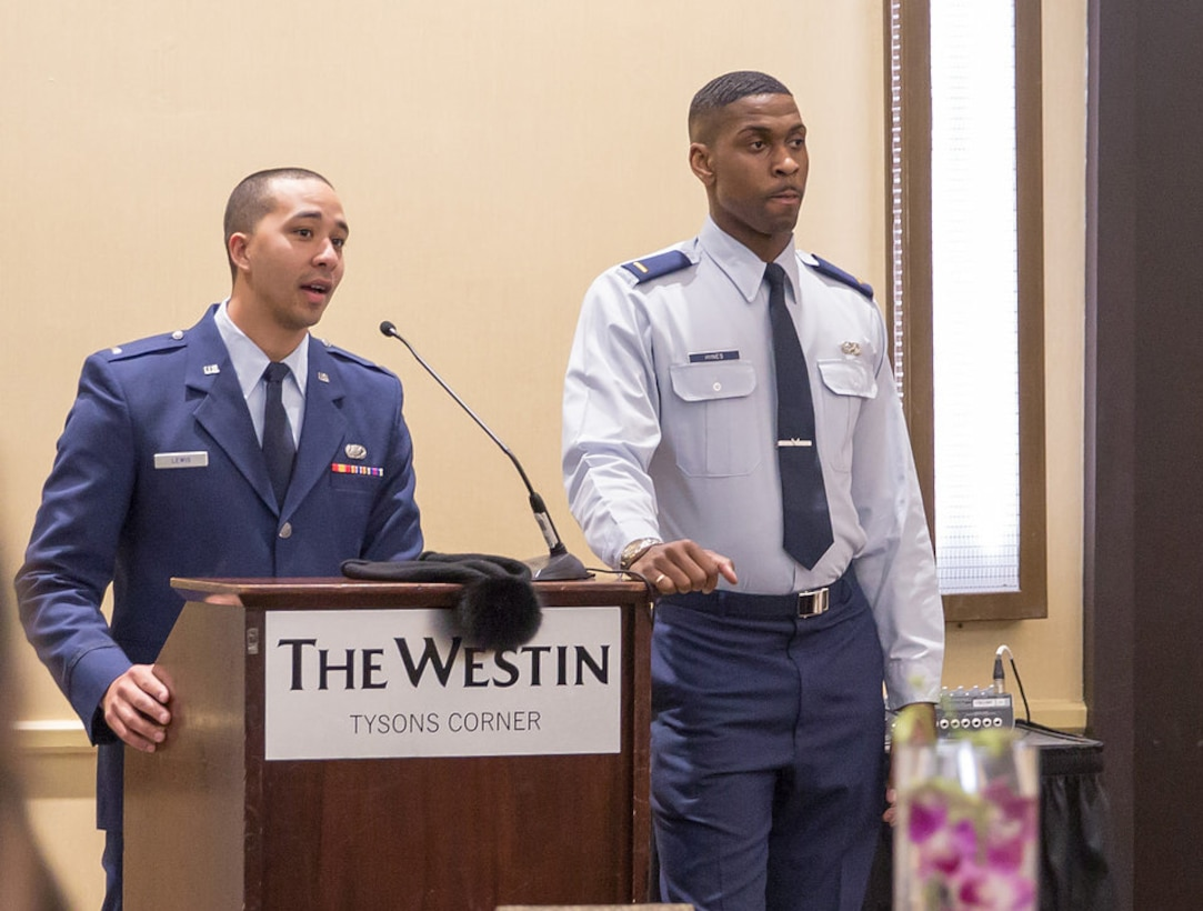 1st Lt. Russell Lewis, 81st Force Support Squadron military personnel flight commander (left), and 1st Lt. Jared Hines, 81st Contracting Squadron contract specialist (right), give remarks during the Higher Level Leadership Conference held Feb. 7-10, 2018, in Washington, D.C. Lewis and Hines hosted the conference dedicated to creating a community of leaders for the personal and professional development of minorities around the country. (Courtesy photo by Capt. Chad Mintz)