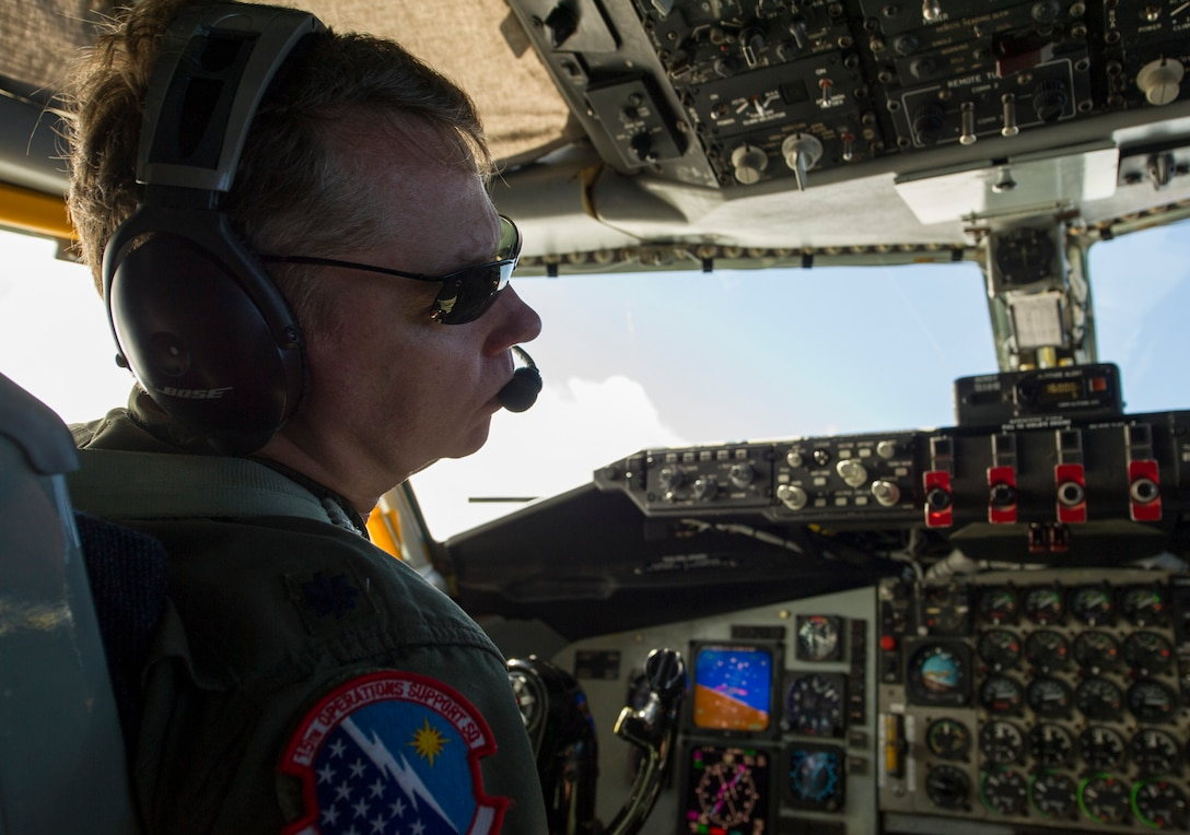 Lt. Col. Reese Evers, 15th Operations Support Squadron KC-135 Stratotanker pilot, flies during a C-17 Globemaster III refueling mission over Joint Base Pearl Harbor-Hickam, Hawaii, Feb. 14, 2018.  Evers retired as a command pilot with over 4,100 total flying hours in tactical airlift, airdrop, air assult, night vision, formation, aero-medical evacuation, VIP airlift, and strategic tanker operation and as one of the last members of the 96th Air Refueling Squadron. (U.S. Air Force photo by Tech. Sgt. Heather Redman)