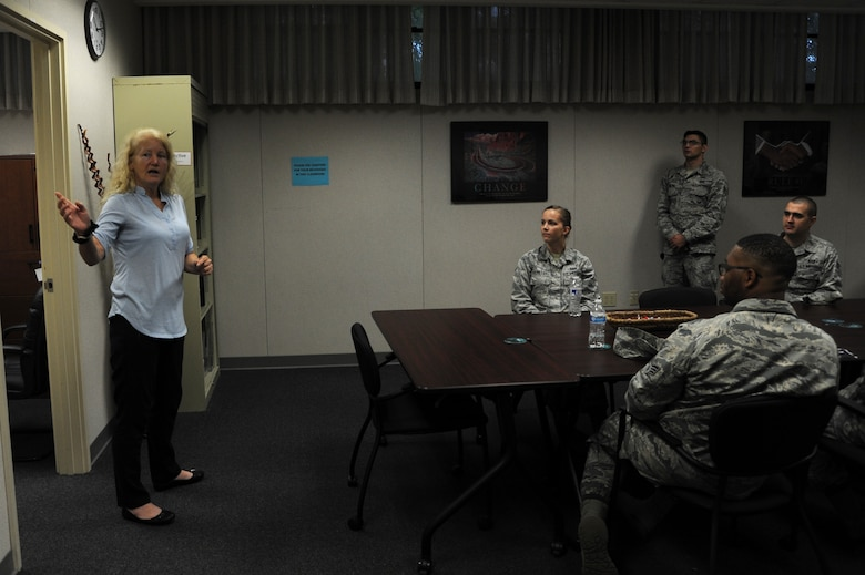 Ida Wallace, 15th Wing victim advocate, educates Airman Leadership School students on Sexual Assault Prevention and Response services available to Airmen and their families, Feb. 26, 2018, at Joint Base Pearl Harbor-Hickam, Hawaii.