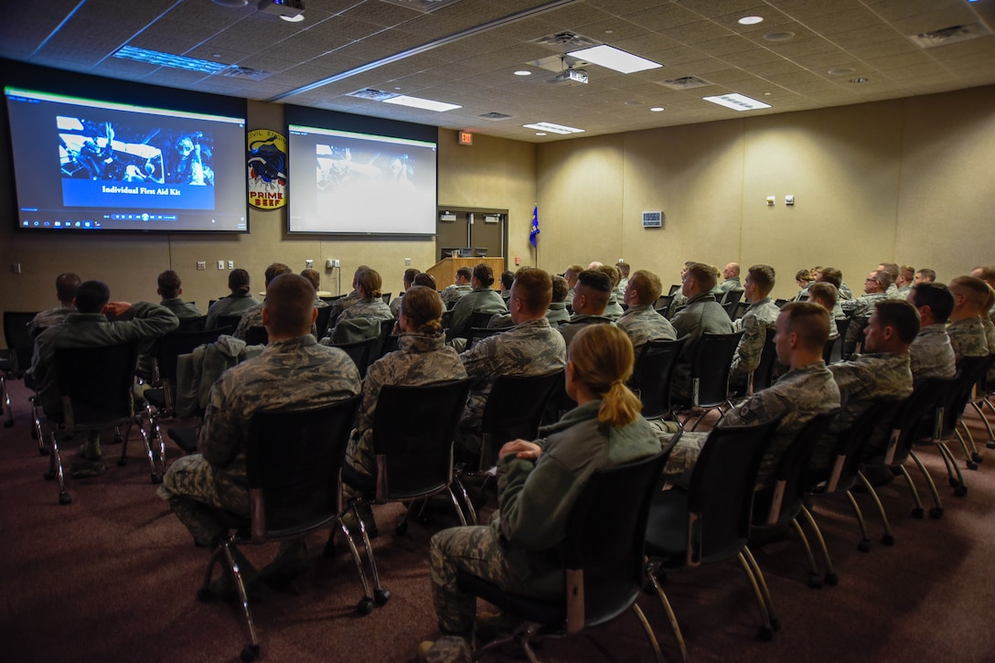 114th Fighter Wing Airmen watch a refresher video on Self-Aid & Buddy Care (SABC) during the 114th Fighter Wing Readiness Training March 3, 2018, Joe Foss Field, S.D.