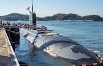 USS Topeka (SSN 754) sits along the pier at Fleet Activities Yokosuka, March 2. (U.S. Navy/MC2 Jeremy Graham)