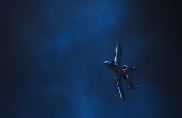 A U.S. Air Force A-10C Thunderbolt II performs aerial maneuvers during the annual Heritage Flight Training and Certification Course at Davis-Monthan Air Force Base, Ariz., March 3, 2018. Established in 1997, the HFTCC certifies civilian pilots of historic military aircraft and U.S. Air Force pilots to fly in formation during the upcoming air shows. (U.S. Air Force photo by Airman 1st Class Frankie D. Moore)