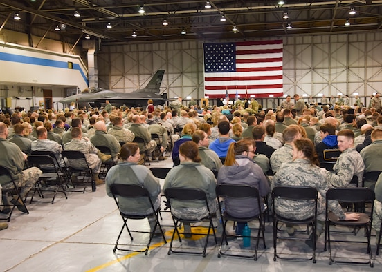 More than 1200 Airmen and their families packed a 114th Fighter Wing hangar during a welcome home ceremony March 4, 2018 at Joe Foss Field.