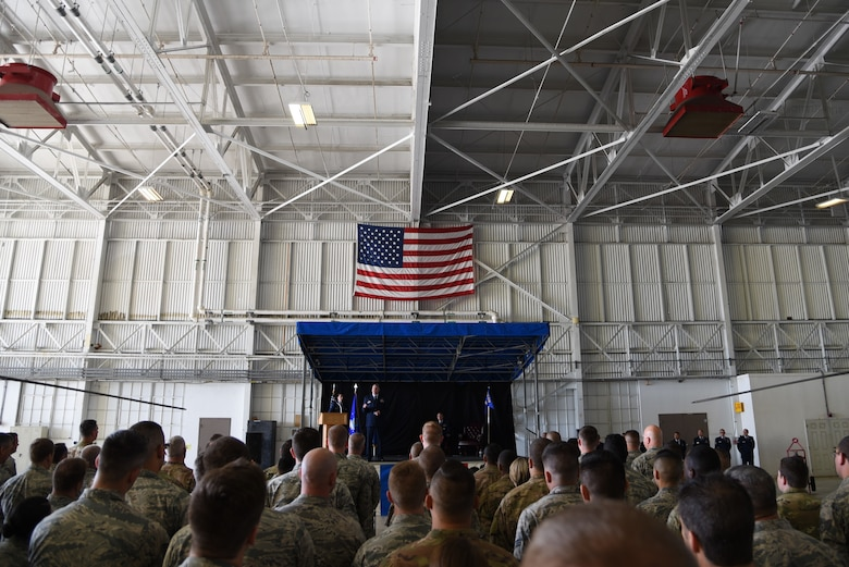 Reserve Citizen Airmen with the 920th Maintenance Group attend their new commanding officer's change of command ceremony at Patrick, Air Force Base, Florida, March 3. The unit is tasked with maintaining rescue aircraft assigned to the 920th Rescue Wing. (U.S. Air Force photo by Senior Airman Brandon Kalloo Sanes)