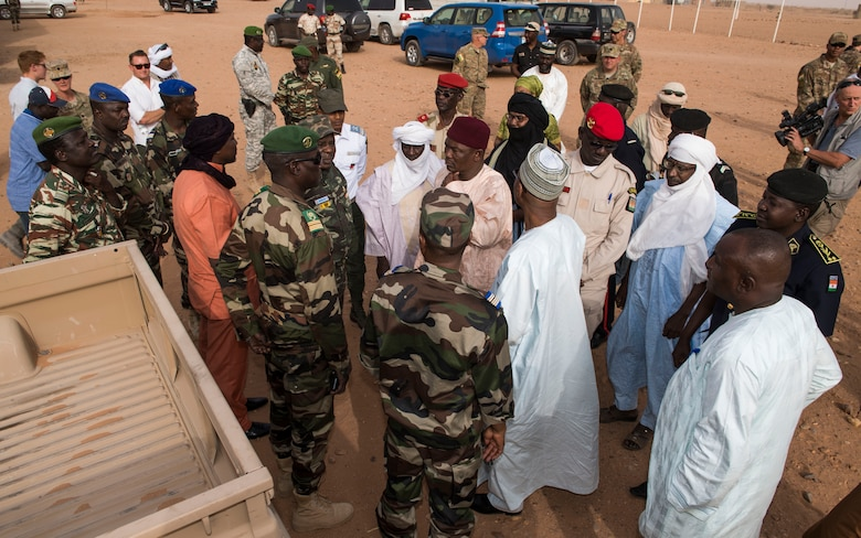 Agadez civic leaders gather with commanders of the Forces Armées Nigeriennes and U.S. Air Force squadron commanders from the 409th Air Expeditionary Group Feb. 21, 2018, at Nigerien Air Base 201, Niger. The civic leaders were invited on base by the U.S. Air Force squadron commanders to get a tour of the base and enhance partnerships between the U.S. and Niger. (U.S. Air Force photo by Tech. Sgt. Nick Wilson)