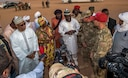 Agadez civic leaders answer questions from the local media with commanders of the Forces Armées Nigeriennes and U.S. Air Force squadron commanders from the 409th Air Expeditionary Group Feb. 21, 2018, at Nigerien Air Base 201, Niger.  The purpose of the media visit was to showcase the interoperability and joint partnership between the U.S. Air Force and Niger. (U.S. Air Force photo by Tech. Sgt. Nick Wilson)