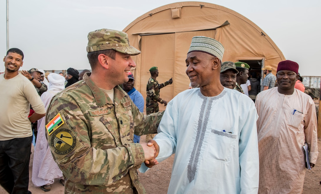 Lt. Col. Brad Harbaugh, 724th Expeditionary Air Base Squadron commander, shakes hands with the Agadez Region Governor, Saadou Soloke, after a base tour Feb. 21, 2018, at Nigerien Air Base 201, Niger. Harbaugh gave Soloke and his delegation a tour of construction projects on the base and discussed mutual goals and objectives between the U.S. and Niger. The U.S. and Niger seek to eliminate mutual security threats in areas where assistance is requested, and these operations are conducted in full coordination with the host nation. (U.S. Air Force photo by Tech. Sgt. Nick Wilson)