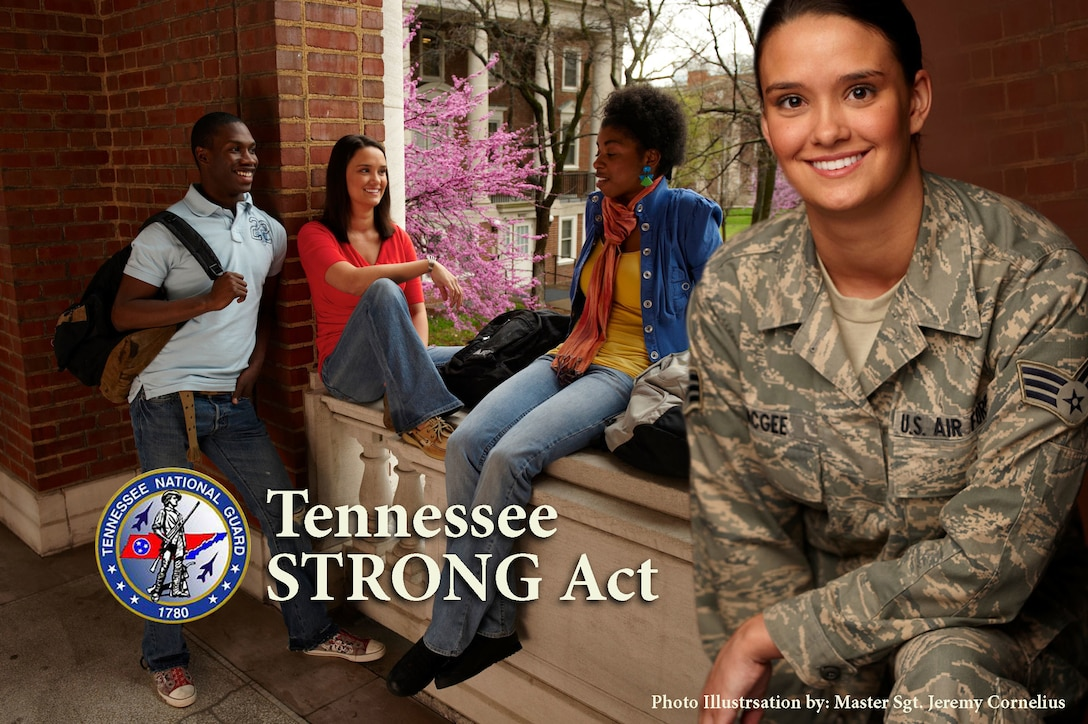 The Tennessee STRONG Act will provide 100 percent tuition reimbursement to Tennessee Guardsmen for a first time associate or bachelor's degree. (U.S. Air National Guard photo illustration by Master Sgt. Jeremy Cornelius)