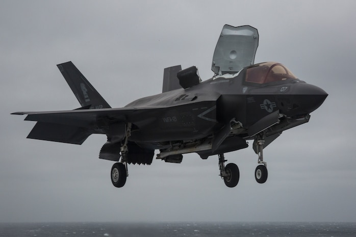 An F-35B Lighitng II performs deck landing qualifications on the USS Wasp (LHD-1), March 5, 2018. Marine Fighter Attack Squadron 121 embarked a detachment of F-35Bs on the USS Wasp for the 31st Marine Expeditionary Unit's Spring Patrol 2018, marking the first operational deployment of the F-35B with a MEU. As the Marine Corps' only continuously forward-deployed MEU, the 31st MEU provides a flexible force ready to perform a wide range of military operations.