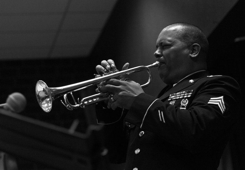 SGT Givens Playing Trumpet