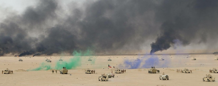 U.S Soldiers of the 1st Battalion, 35th Armored Regiment joined the Kuwaiti Land Forces during a combined live-fire demonstration as part of the Kuwaiti Flagpole Exercise at Udari Range on January 22, 2018.