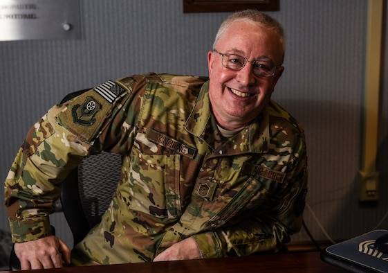 Chief Master Sgt. Bill Yingling poses for a portrait.