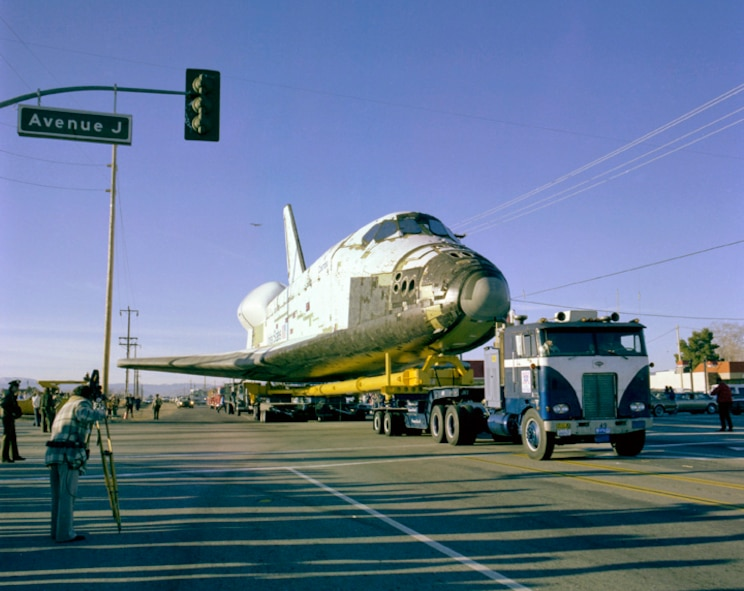 Space Shuttle Columbia (OV-102) ground transport from Palmdale, California, to Edwards Air Force Base. (NASA photo)