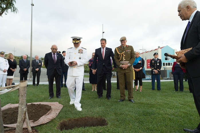 Adm. Harry Harris, Commander, U.S. Pacific Command, lays a stone from Pearl Harbor, Hawaii at the Pukeahu National War Memorial in Wellington, New Zealand, March 5, 2018.
