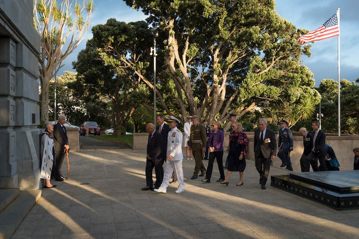 U.S. and New Zealand officials visit the Pukeahu National War Memorial's Hall of Memories, where designs for the U.S. memorial were unveiled, March 5th.