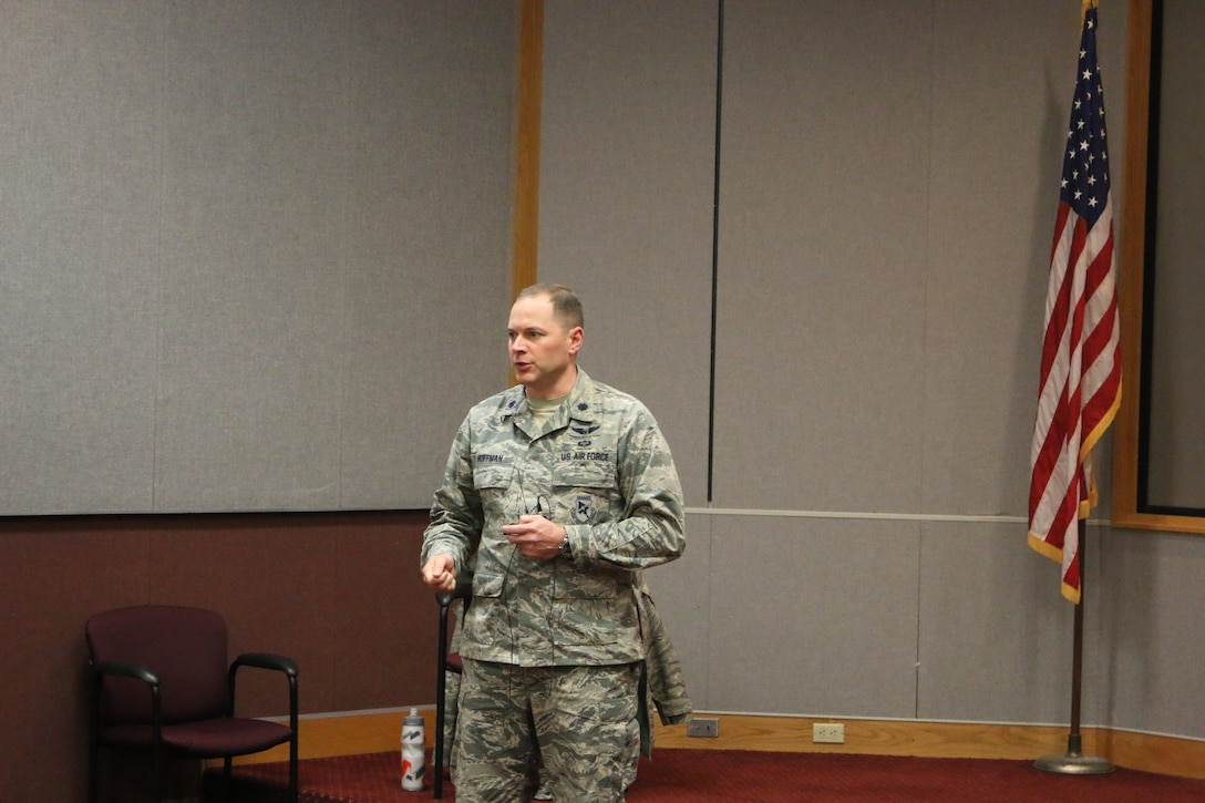 Flight Systems Combined Test Force Director Lt. Col. David Hoffman speaks with CTF personnel during a recent session to discuss safety and security issues. CTF operations were stood down on Feb. 5 for safety and security discussions.