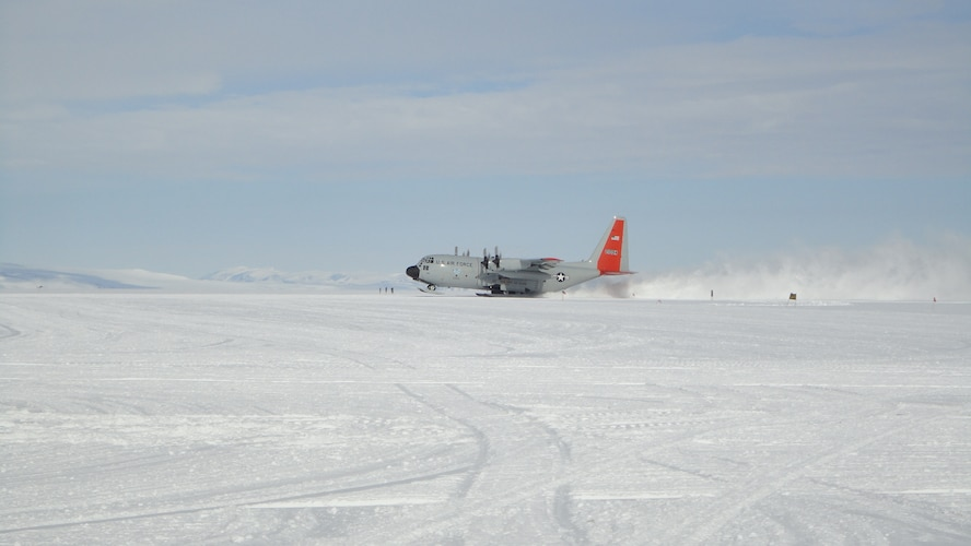 An LC-130 assigned to the New York Air National Guard lands at McMurdo Station in Antarctica Jan. 25, 2018. Service members from the National Guard, Active Duty and Reserves in the U.S. Air Force, Army, Navy and U.S. Coast Guard support Operation Deep Freeze, an inter-agency, multi-national research and investigative mission run by the National Science Foundation. (Courtesy Photo)