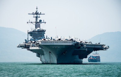 The aircraft carrier USS Carl Vinson arrives in Danang, Vietnam.