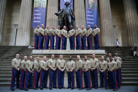 NEW YORK CITY – Senior Enlisted Career Recruiters (Gray Beards) with Marine Corps Recruiting Command (MCRC) pose for a photo in front of Federal Hall during the National 8412 Gray Beards Symposium in New York City, Feb. 21. Marine Corps Recruiting Command (MCRC) conducts annual training to assure the continued professional development of the recruiting force. Part of a Gray Beards' role is to observe, diagnose, and identify what is needed to help the recruiting force achieve peak total force recruiting performance. (U.S. Marine Corps photo by Sgt. Paul T. Williams III)