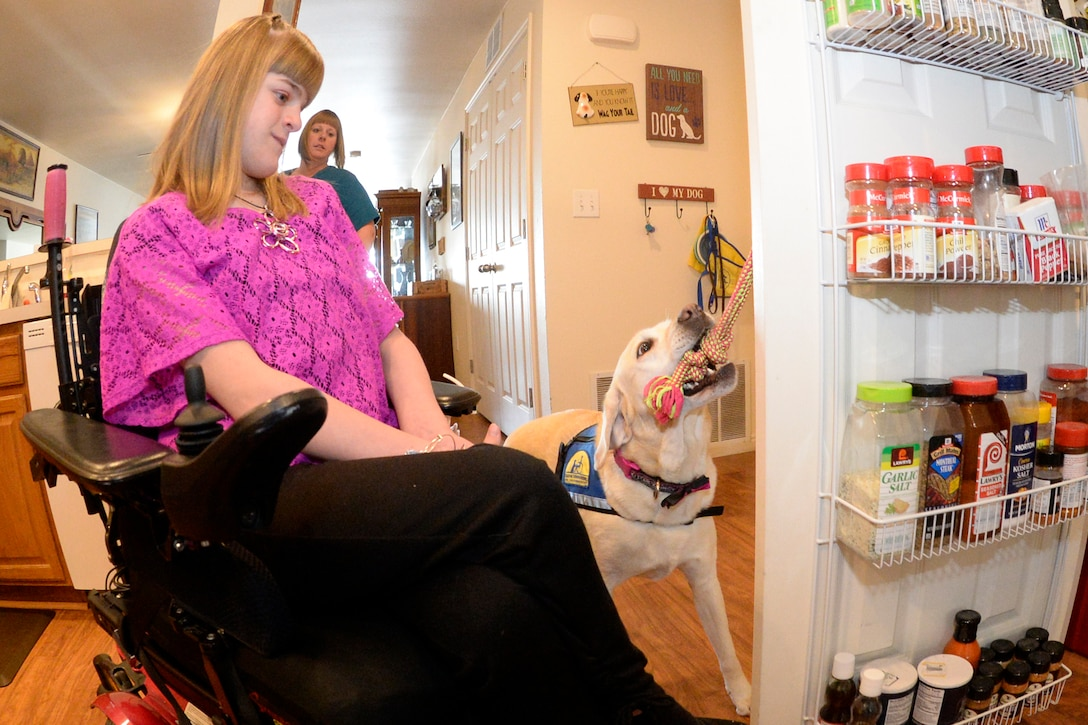 Brianna Heim gets assistance from her service dog, Emily, opening a pantry door March 3, 2018, at her residence. Brianna's parents attended the 2010 Special Needs Summit where they learned about an organization that breeds, raises and trains service dogs in order to provide them to veterans, adults and children with disabilities. Emily can also help Brianna pick things up, carry items and other everyday tasks. (U.S. Air Force photo by Todd Cromar)