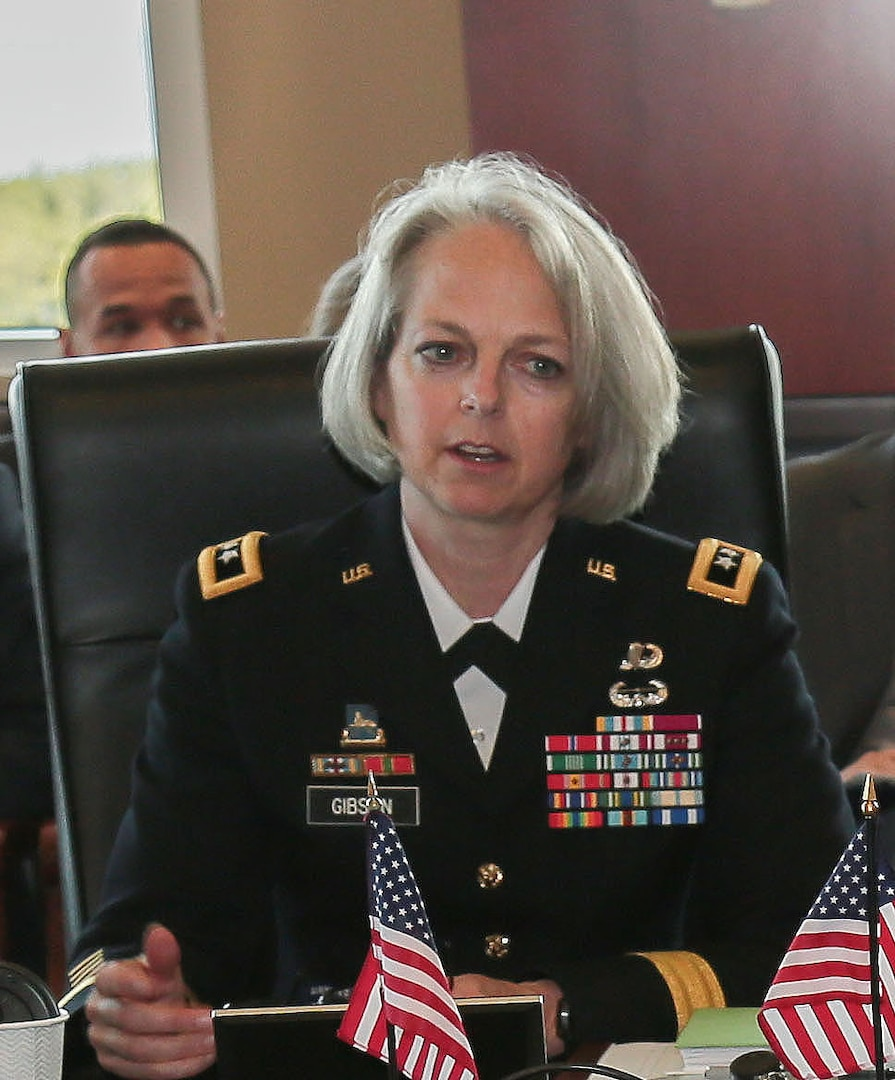 """Maj. Gen. Karen H. Gibson, USCENTCOM Director of Intelligence, provides closing remarks during the Central and South Asia (CASA) Directors of Military Intelligence (DMI) conference Feb. 23, at U.S. Central Command headquarters. The conference supports USCENTCOM's mission to """"promote regional stability"""" and """"improve partner nation capabilities and cooperation."""" (Photo by Tom Gagnier)"""