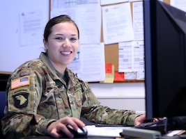 Army Sgt. Isabel Giron, a human resources specialist assigned to the Joint Multinational Readiness Center in Hohenfels, Germany, is responsible for providing support that affects soldiers' overall welfare and well-being. Army photo by Staff Sgt. David Overson