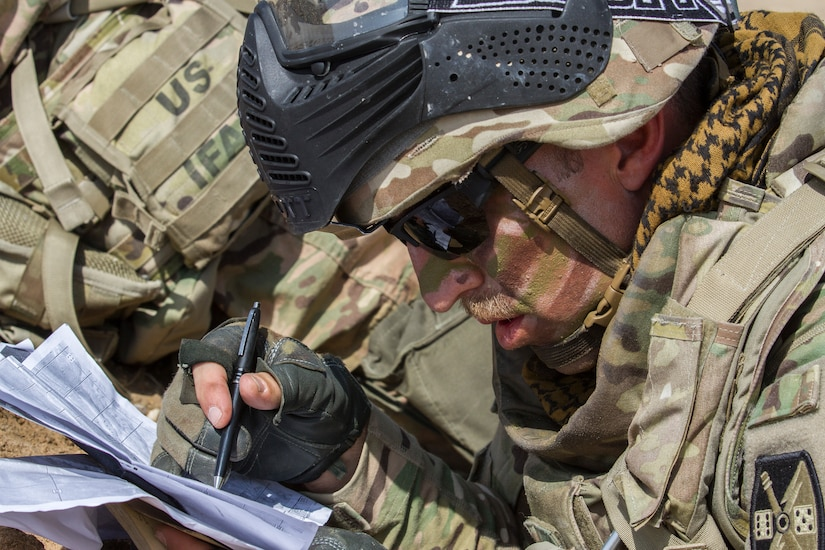 Sergeant 1st Class Aaron Sanford, a maintenance supervisor, Delta Battery, 1st Battalion, 145th Field Artillery Regiment, studies his map to pinpoint the location of an informant during a training exercise at a base near Camp Buehring, Kuwait, Feb. 28, 2018.