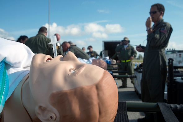 The Florida Advanced Surgical and Transportation (FAST) team simulates first aid care to patients at MacDill Air Force Base, Fla., Feb. 28, 2018.