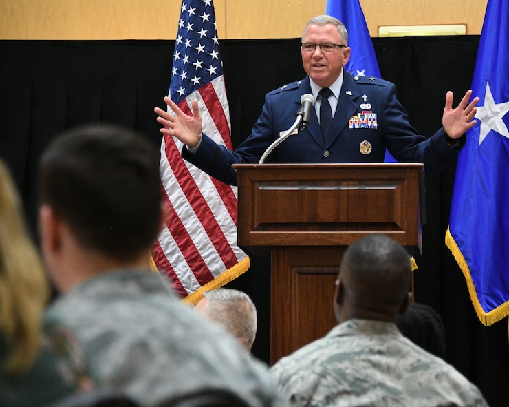 Chaplain (Brig. Gen.) Steven Schaik, Air Force Deputy Chief of Chaplains, speaks during the National Prayer Breakfast at Hill Air Force Base, Utah, March 2, 2018. (U.S. Air Force photo by R. Nial Bradshaw)