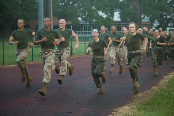 U.S. Marine Corps Recruits with Company O, 4th Battalion and Company G, 2nd Battalion run 880 meters, known as movement to contact, during the initial Combat Fitness Test (CFT) on Marine Corps Recruit Depot, Parris Island, S.C., May, 13, 2017.