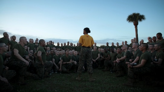 The new Marines of Hotel Company, 2nd Recruit Training Battalion, listen to a speech before competing in a field meet Feb. 24, 2018 on Parris Island, S.C.