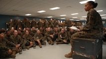 New Marines of Mike Company, 3rd Recruit Training Battalion, and Papa Company, 4th Recruit Training Battalion, discuss proper social media practices during a guided discussion Feb. 28, 2018, on Parris Island, S.C.