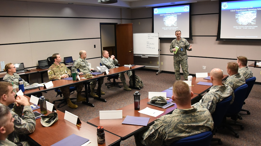 Col. Thomas O'Connell, U.S. Air Force Expeditionary Operations Sschool commander, gives opening remarks to AMC Quality Assurance Supervision Course students on the first day of class at Joint Base McGuire-Dix-Lakehurst, N.J., March 2, 2018. The course was designed to address trending deficiencies in quality assurance supervision by enhancing student's knowledge in executing the roles and responsibilities of QA superintendents and chief inspectors. (U.S. Air Force photo by Tech. Sgt. Jamie Powell)