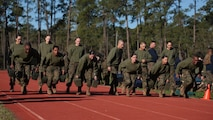 The new Marines of Mike Company, 3rd Recruit Training Battalion, and Papa Company, 4th Recruit Training Battalion, run during a relay race during a field meet March 3, 2018, on Parris Island, S.C.