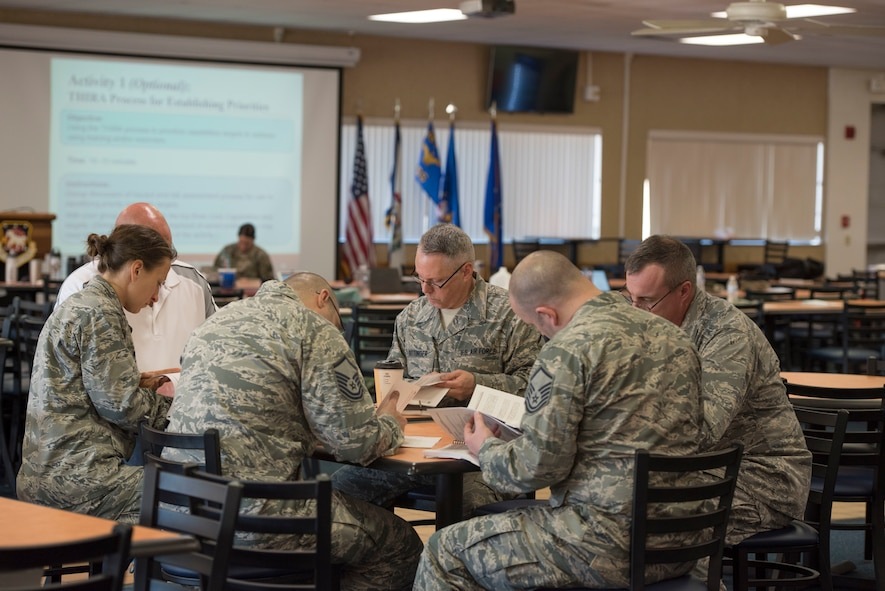 Members of the 167th Inspector General's office works with a local agency during a Homeland Security Exercise and Evaluation Program (HSEEP) course here, Feb. 21 and 22, 2018.