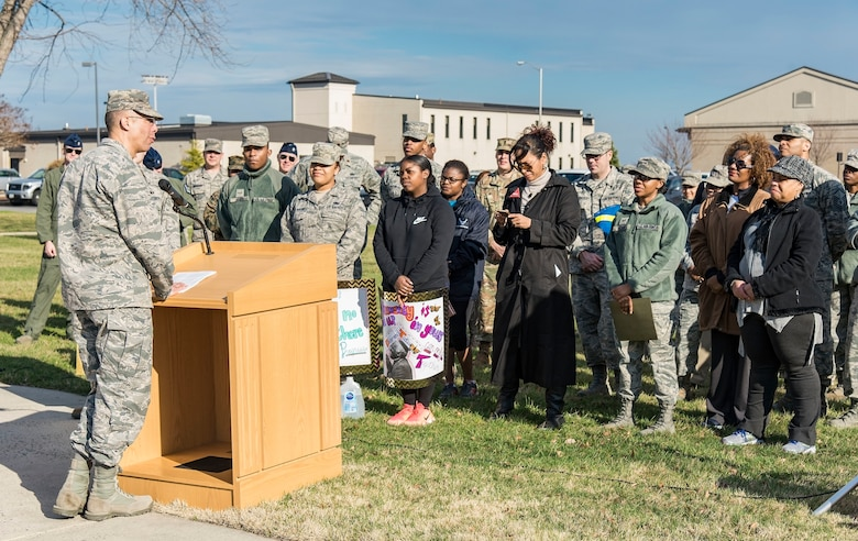 "Col. Randy Boswell, 436th Mission Support Group commander, makes closing remarks at the conclusion of the Black History Month Unity Walk event Feb. 28, 2018, on Dover Air Force Base, Del. Boswell took the opportunity to leave attendees with a piece of history related to the military, an example being retired U.S. Marine Corps Maj. Gen. Charles Bolden Jr., and a challenge by asking ""What are you doing with your opportunities?"" (U.S. Air Force photo by Roland Balik)"