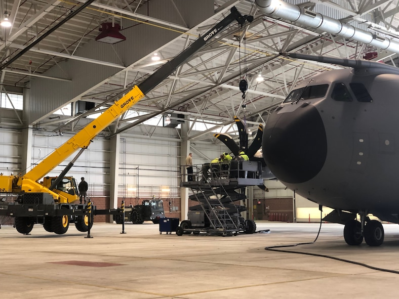 A German Airbus A400M assigned to the 62nd Air Transport Wing of the German Air Force, undergoes a maintenance procedure in a hangar at the 167th Airlift Wing, Martinsburg, W.Va., Feb. 24.