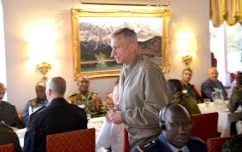 Marine Corps Gen. Thomas D. Waldhauser, commander of U.S. Africa Command, addresses attendees of the first Africa Senior Enlisted Leader Conference in Grainau, Germany, Nov. 8, 2017. The conference brought together senior enlisted leaders from more than 20 African nations and the U.S. to discuss shared challenges and opportunities. Army photo by Staff Sgt. Grady Jones