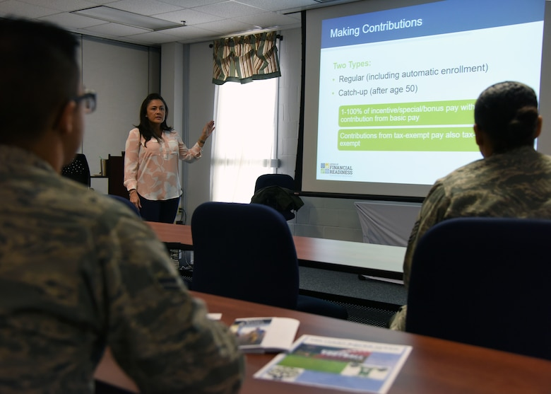 "Elizabeth Wilson, personal financial counselor, briefs Airmen on financial savings during a ""TSP Lunch N' Learn with Liza"" class at the Sablich Center March 2, 2018, on Keesler Air Force Base, Mississippi. The session was one of three held during military saves week. (U.S. Air Force photo by Kemberly Groue)"