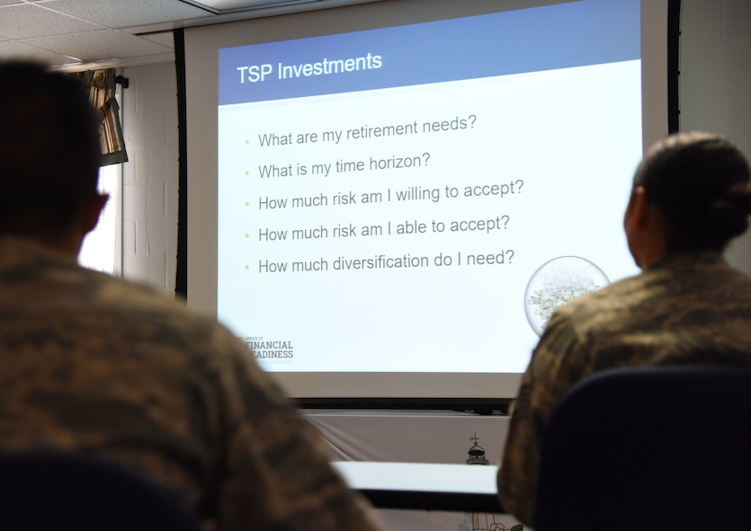 "Airman 1st Class Nathaniel Gomez, 81st Dental Squadron dental technician, and Master Sgt. Dennise Griggs, 81st Diagnostic and Therapeutics Squadron histopathology NCO in charge, attend a ""TSP Lunch N' Learn with Liza"" financial savings class at the Sablich Center March 2, 2018, on Keesler Air Force Base, Mississippi. The session was one of three held during military saves week. (U.S. Air Force photo by Kemberly Groue)"