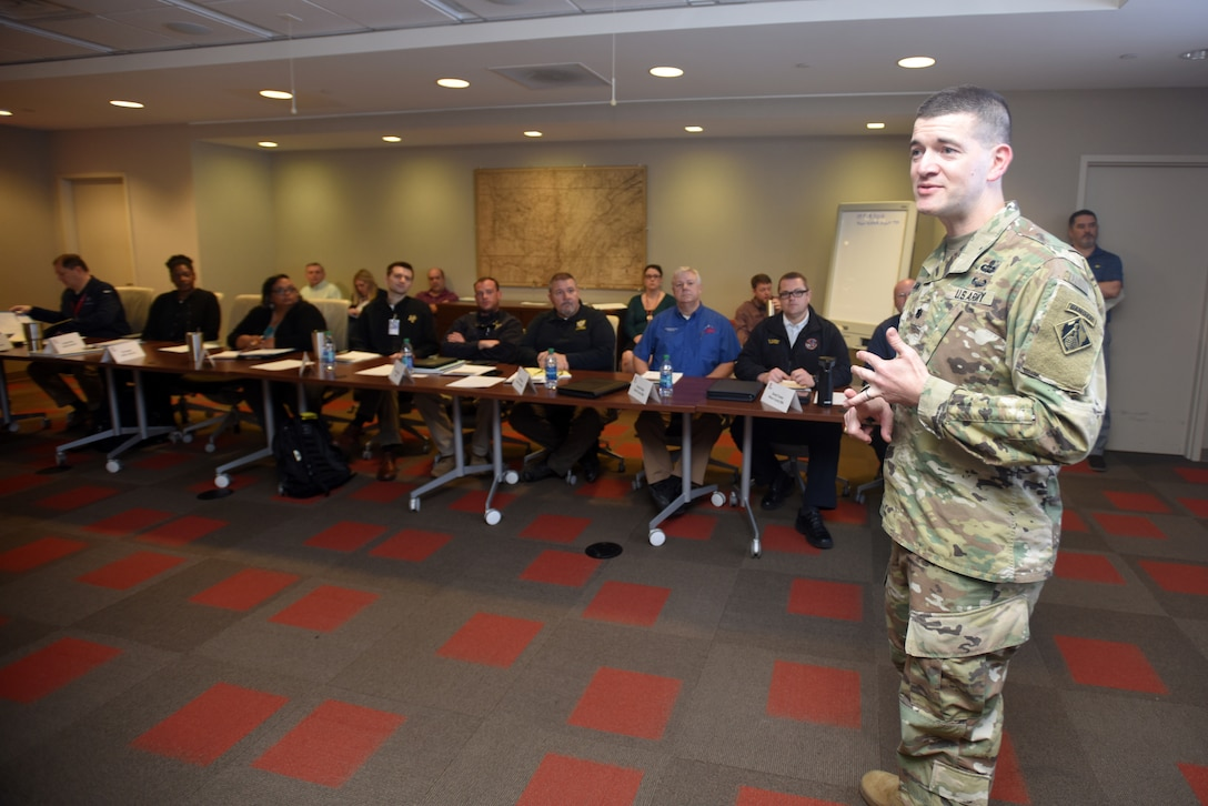 Lt. Col. Cullen Jones, U.S. Army Corps of Engineers Nashville District commander, welcomes Corps employees and state emergency managers present for a water management tabletop exercise Feb. 27, 2018 at the district headquarters in Nashville, Tenn. (USACE Photo by Lee Roberts)