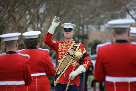 On Feb. 20, 2018, the Marine Band participated in the funeral ceremony for Sgt. Maj. Robert E. Cleary, the 10th sergeant major of the Marine Corps, in Virginia Beach, Va. Cleary, born in Tewksbury, Mass., was the last Korean War veteran to serve as sergeant major of the Marine Corps, a post he assumed on June 28, 1983. (U.S. Marine Corps photo by Master Sgt. Amanda Simmons/released)