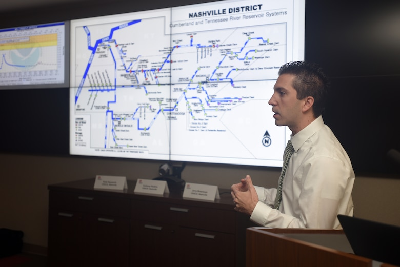 Anthony Rodino, U.S. Army Corps of Engineers Nashville District Water Management Section chief, facilitates a water management tabletop exercise Feb. 27, 2018 with Corps members and state emergency managers at the district headquarters in Nashville, Tenn. (USACE Photo by Lee Roberts)