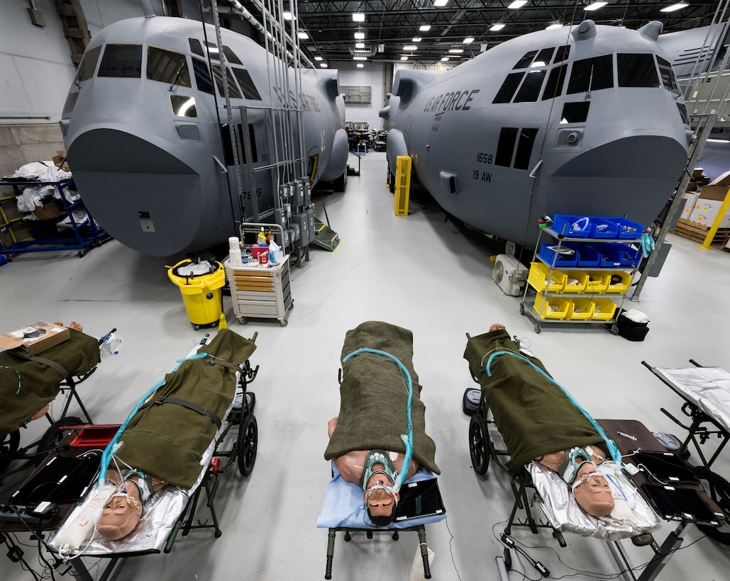 U.S. Airmen, active-duty, Reservists and Air National Guard, as well as, members of other services and partner nations, receive flight nurse training in advanced C-17 and C-130 simulators at the 711th Human Performance Wing's U.S. Air Force School of Aerospace Medicine at Wright Patterson AFB, Ohio, Jan. 29, 2018. (U.S. Air Force photo by J.M. Eddins Jr.)